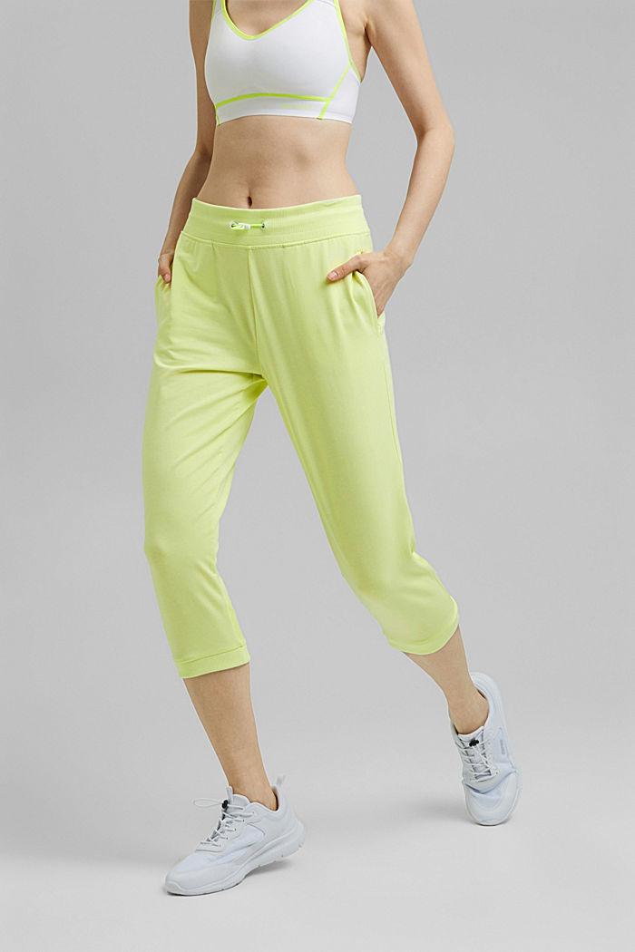 Pantalones jogging estilo capri con malla, algodón ecológico, LIME YELLOW, detail image number 0