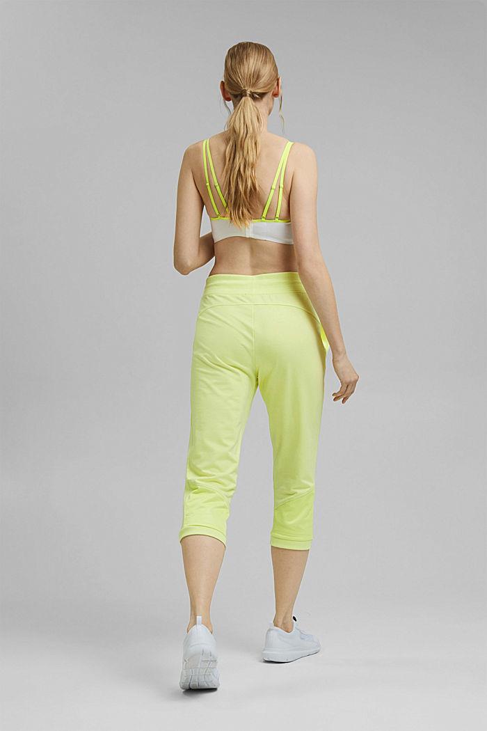 Pantalones jogging estilo capri con malla, algodón ecológico, LIME YELLOW, detail image number 3