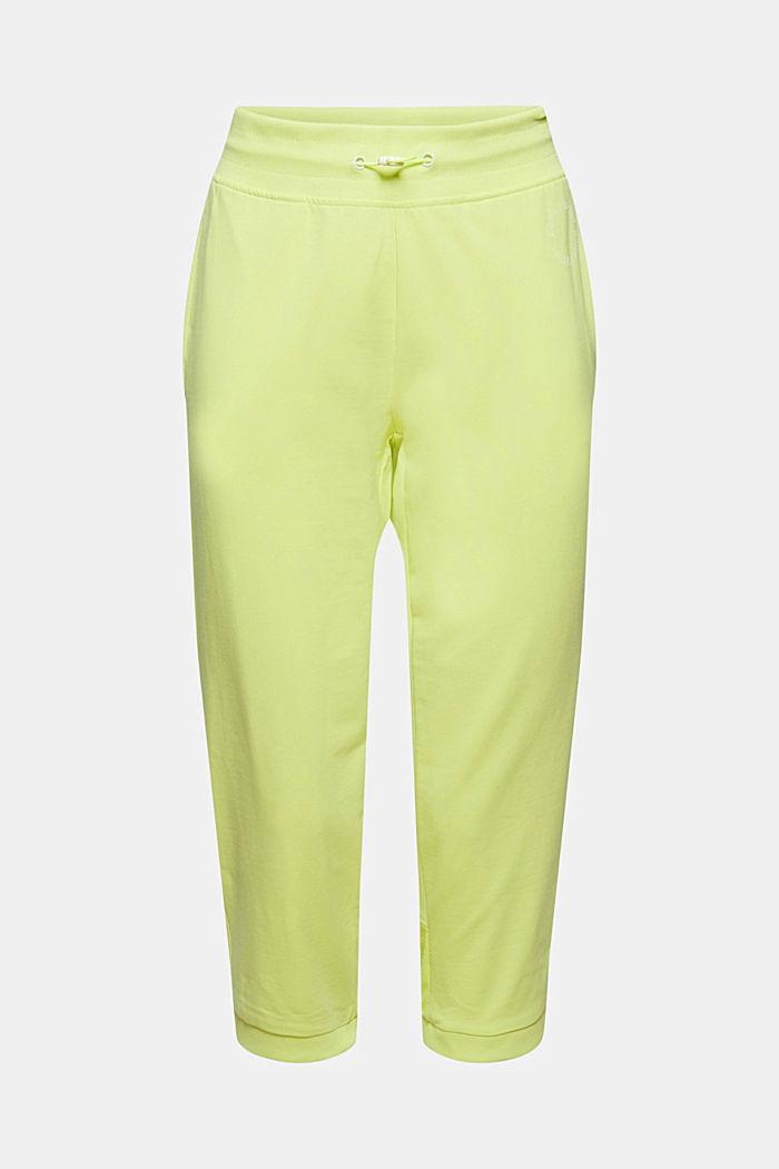Pantalon de jogging de coupe corsaire, orné de mesh, coton biologique