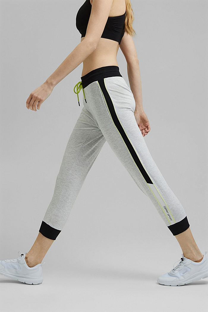 Colour block Capri trousers made of jersey, LIGHT GREY, detail image number 0