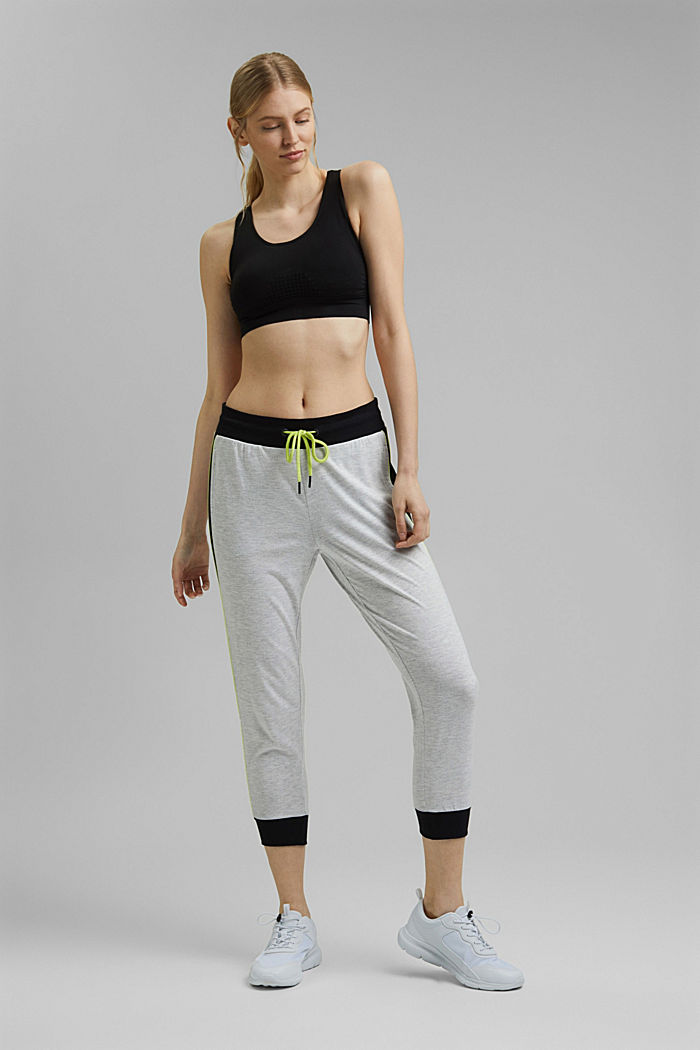 Colour block Capri trousers made of jersey, LIGHT GREY, detail image number 1