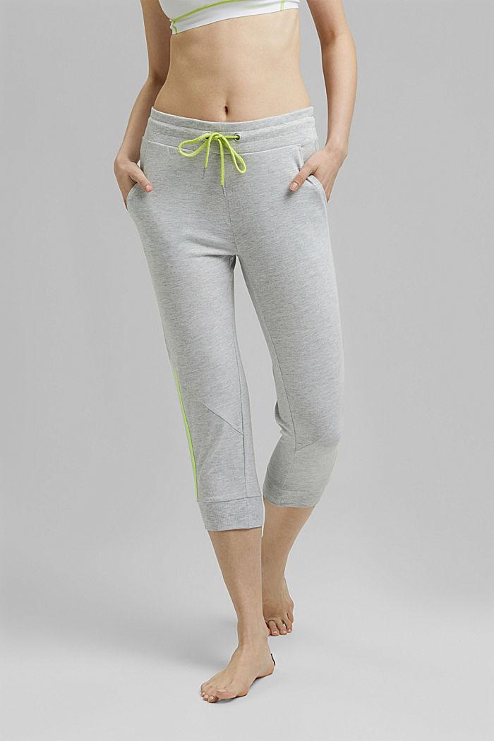 Recycelt: Active-Hose aus Jersey mit Neon-Details, LIGHT GREY, detail image number 0