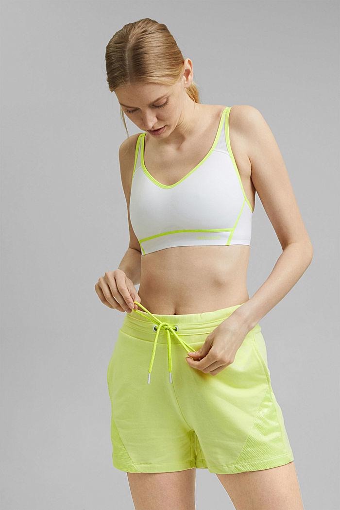 Sweatshort met mesh details, organic cotton, LIME YELLOW, detail image number 6