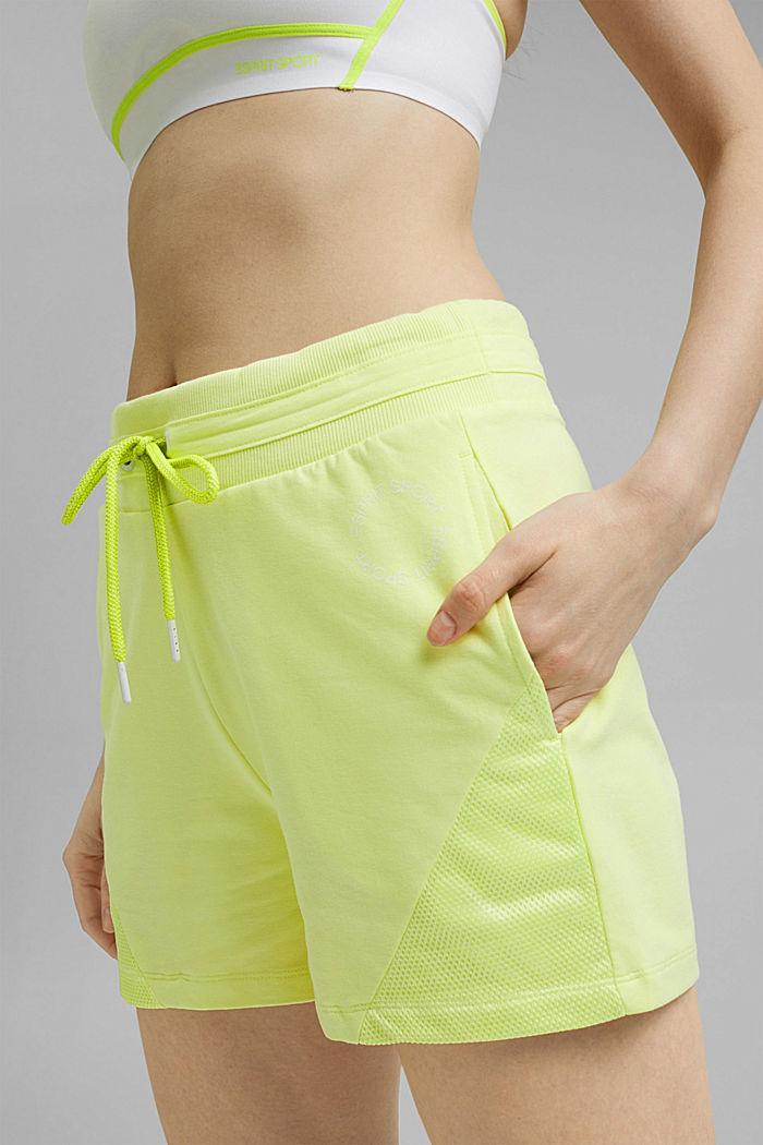 Sweatshort met mesh details, organic cotton, LIME YELLOW, detail image number 2
