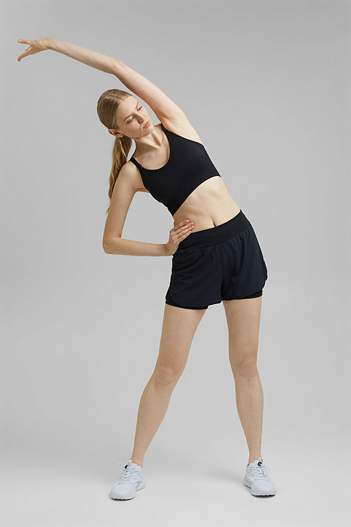Gerecycled: double layered short, BLACK, detail image number 1