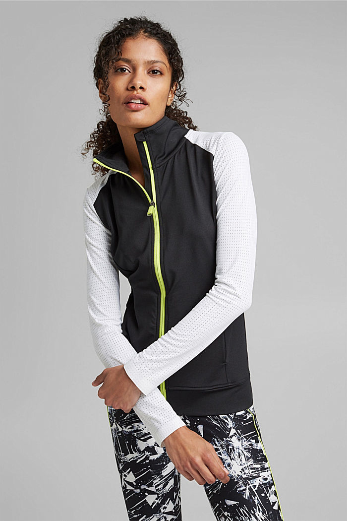 Gerecycled: TENNIS-vest met rits en E-DRY, BLACK, detail image number 0