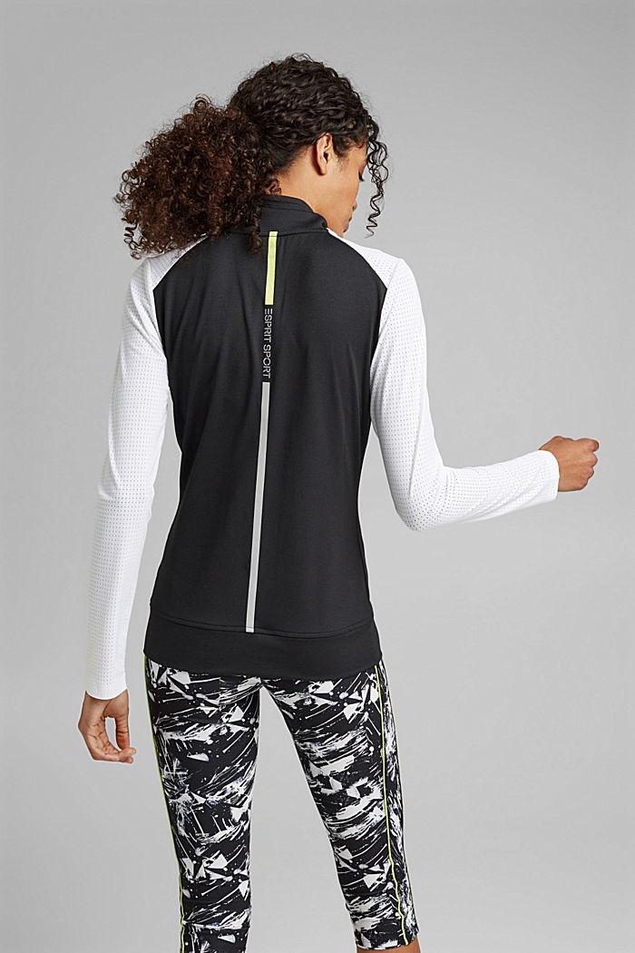 Gerecycled: TENNIS-vest met rits en E-DRY, BLACK, detail image number 3