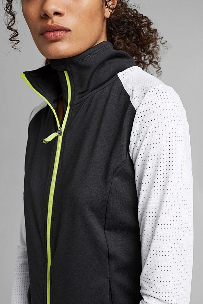 Gerecycled: TENNIS-vest met rits en E-DRY, BLACK, detail image number 2