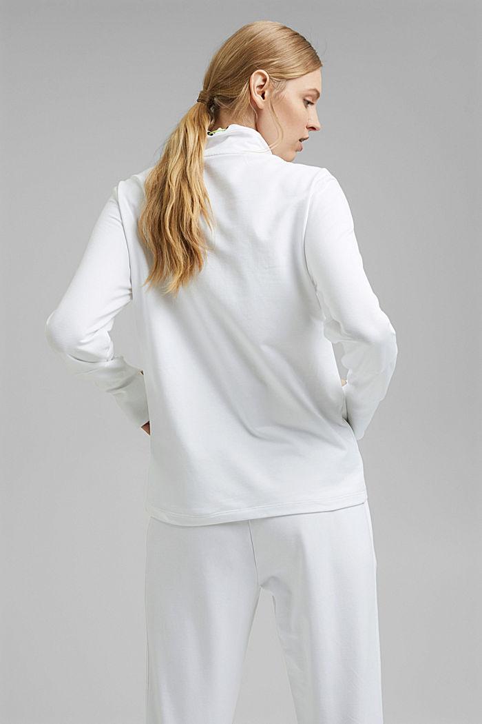 Bluza dresowa zapinana na zamek z detalami z siateczki, z bawełny ekologicznej, WHITE, detail image number 3