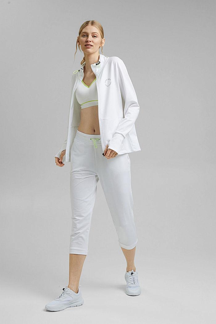 Bluza dresowa zapinana na zamek z detalami z siateczki, z bawełny ekologicznej, WHITE, detail image number 1