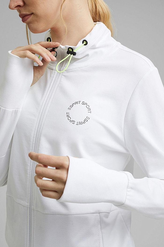 Bluza dresowa zapinana na zamek z detalami z siateczki, z bawełny ekologicznej, WHITE, detail image number 2