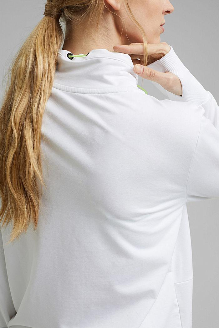 Bluza dresowa zapinana na zamek z detalami z siateczki, z bawełny ekologicznej, WHITE, detail image number 5