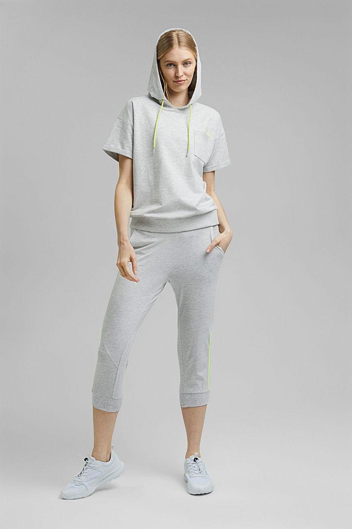 Sweatshirt met korte mouwen, van een mix van biologisch katoen, LIGHT GREY, detail image number 1
