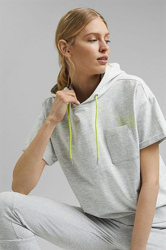 Sweatshirt met korte mouwen, van een mix van biologisch katoen, LIGHT GREY, detail image number 5