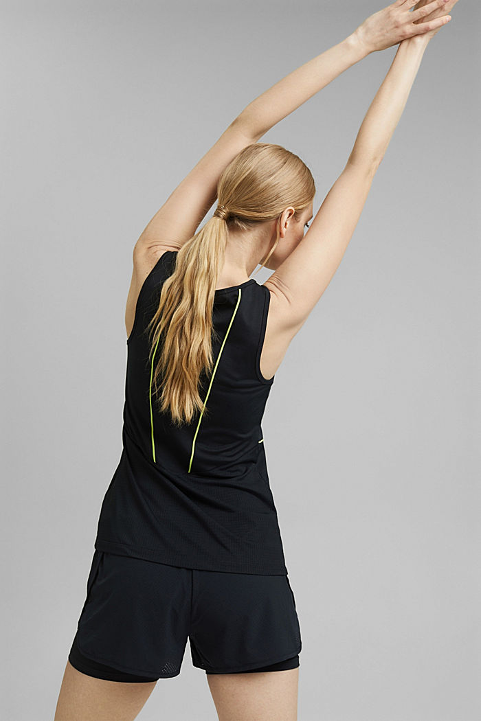Recycled: sleeveless top with laser-cut details and E-DRY, BLACK, detail image number 5