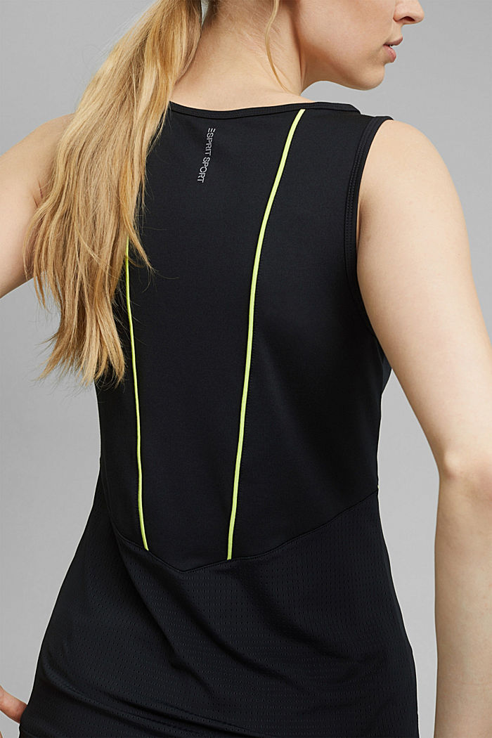 Recycled: sleeveless top with laser-cut details and E-DRY, BLACK, detail image number 2