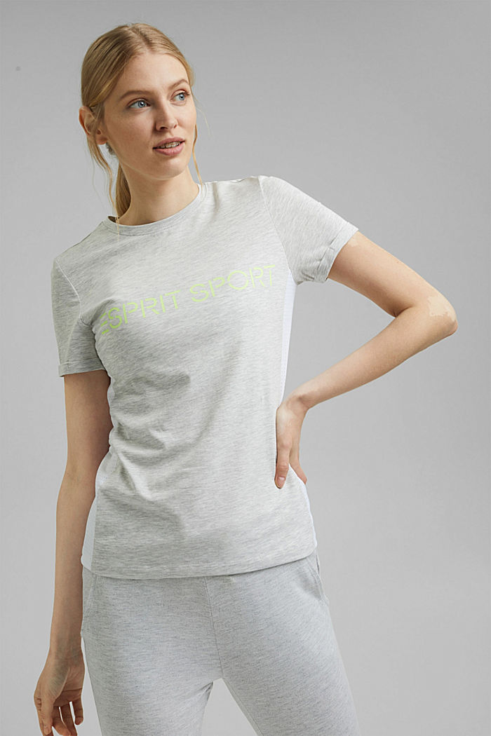 T-shirt with logo print and laser cut, organic cotton, LIGHT GREY, detail image number 0