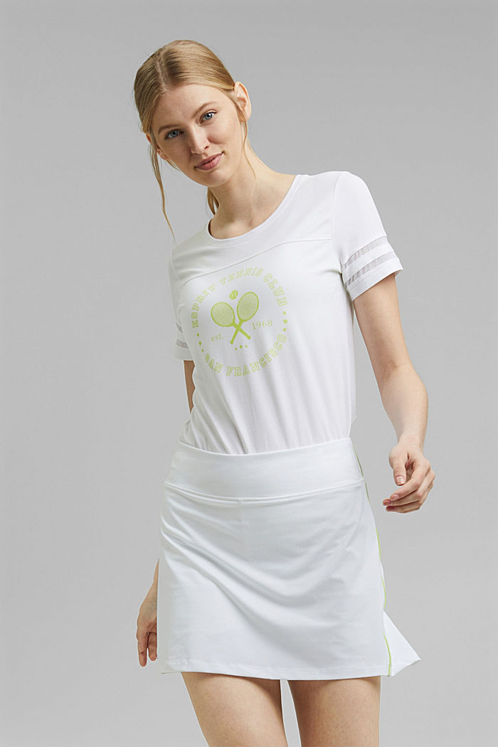 TENNIS T-shirt with mesh details, organic cotton, WHITE, detail image number 0