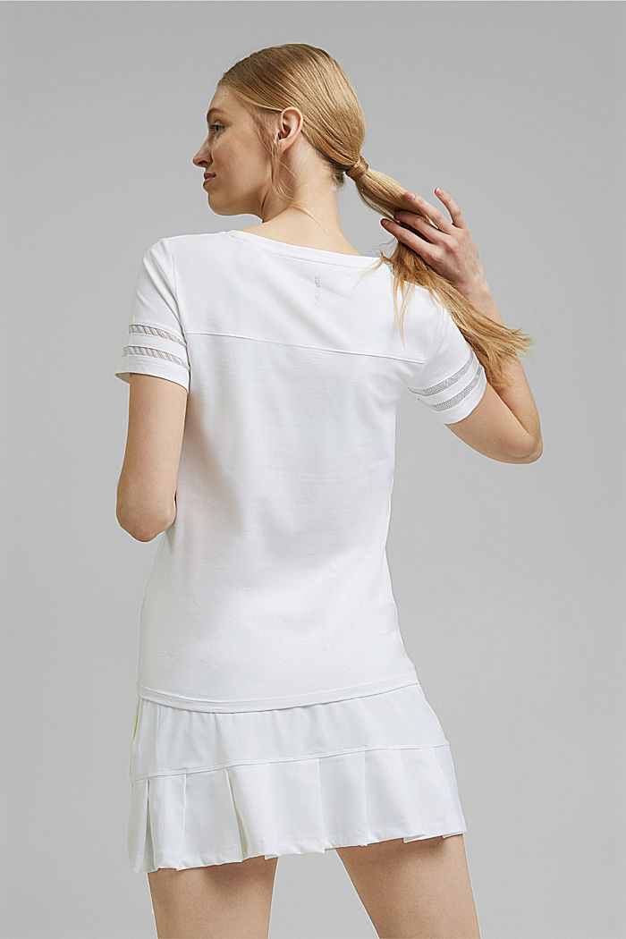 TENNIS T-shirt with mesh details, organic cotton, WHITE, detail image number 3