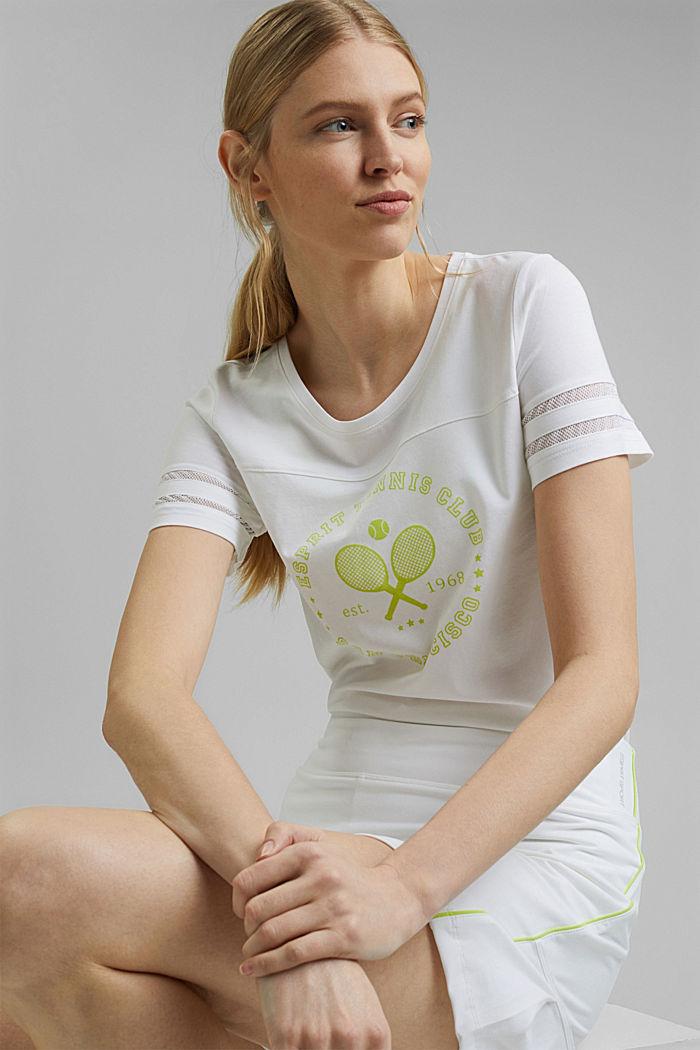 TENNIS tričko s detaily ze síťoviny, bio bavlna