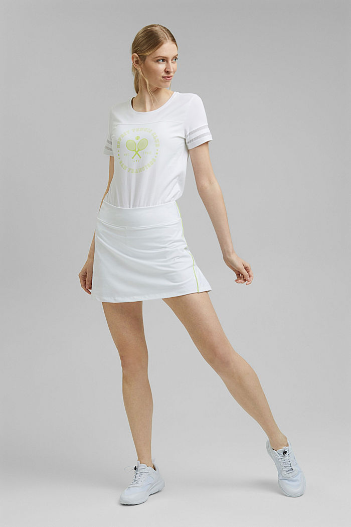 TENNIS T-shirt with mesh details, organic cotton, WHITE, detail image number 1