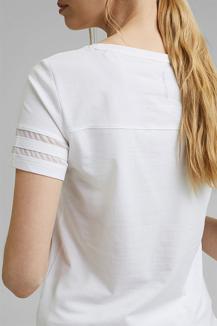 TENNIS T-shirt with mesh details, organic cotton, WHITE, detail image number 5