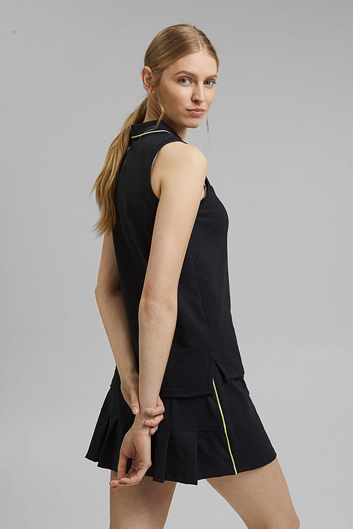 Polo TENNIS en maille piquée, coton bio, BLACK, detail image number 3