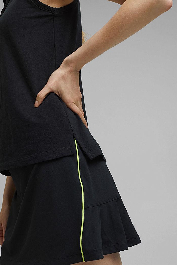 Polo TENNIS en maille piquée, coton bio, BLACK, detail image number 2