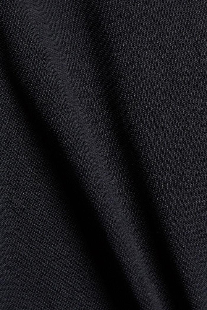 Polo TENNIS en maille piquée, coton bio, BLACK, detail image number 4