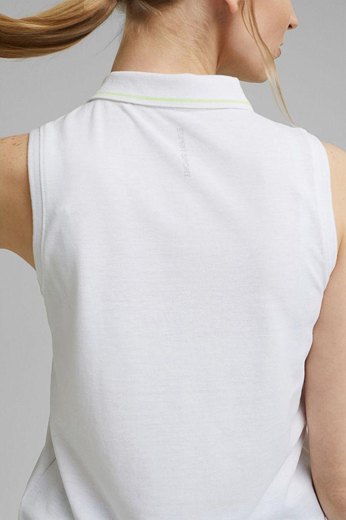 TENNIS Piqué-Poloshirt mit Organic Cotton, WHITE, detail image number 5