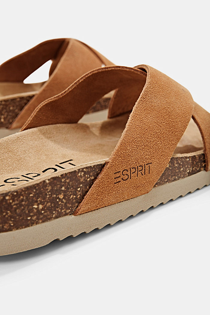Leather: mules with crossed-over straps, CARAMEL, detail image number 4