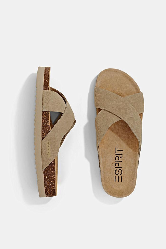 Pelle: sandali con cinturini incrociati, LIGHT BEIGE, detail image number 1