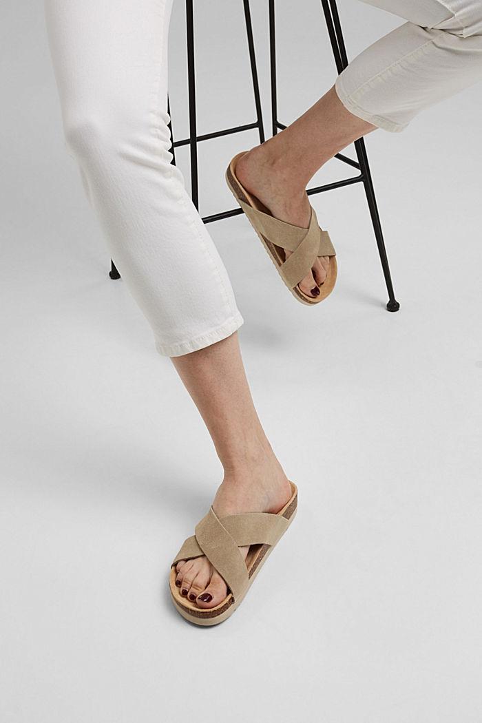 Pelle: sandali con cinturini incrociati, LIGHT BEIGE, detail image number 6