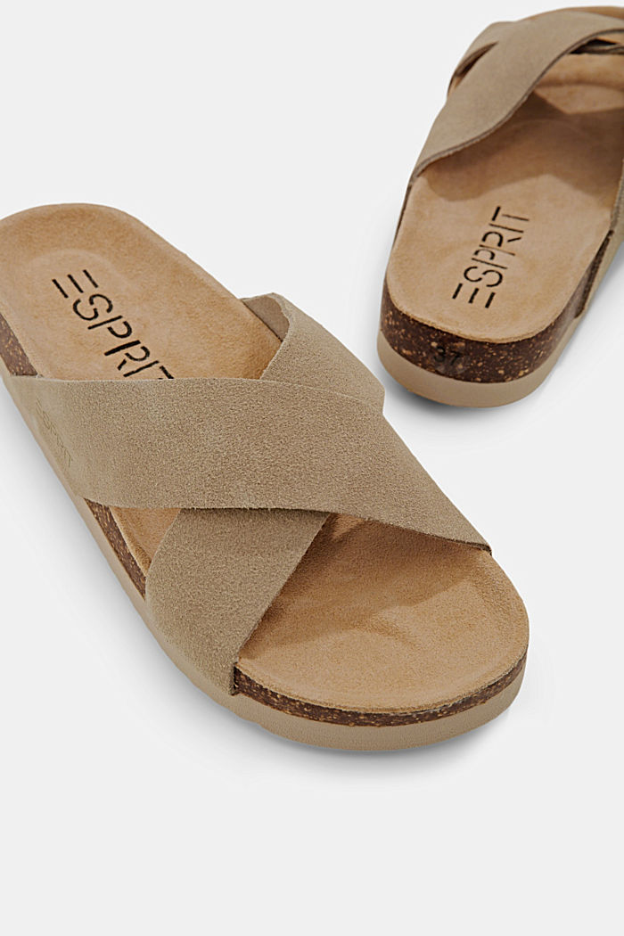 Pelle: sandali con cinturini incrociati, LIGHT BEIGE, detail image number 4