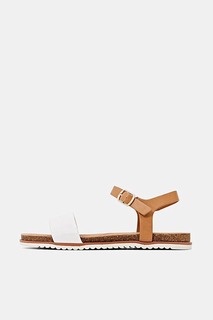 Ploché sandály s řemínkem z imitace kůže, WHITE, detail image number 0