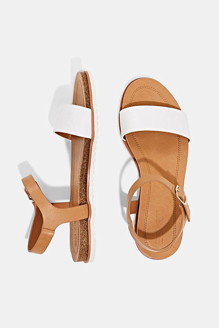 Ploché sandály s řemínkem z imitace kůže, WHITE, detail image number 1