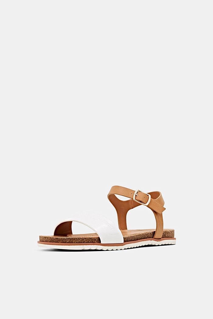 Ploché sandály s řemínkem z imitace kůže, WHITE, detail image number 2