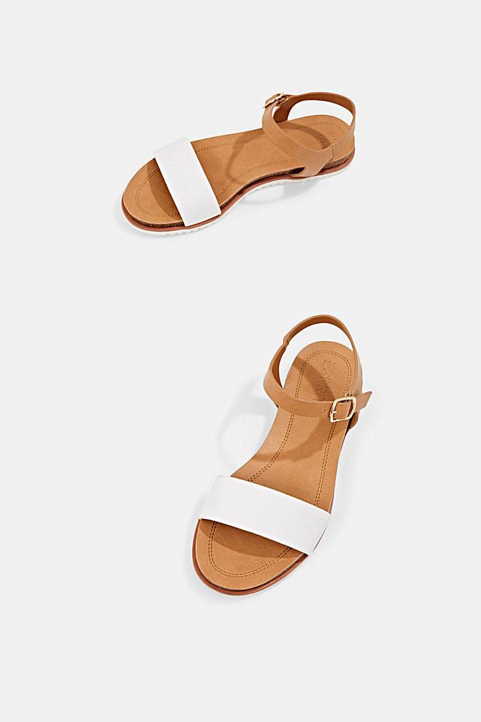 Ploché sandály s řemínkem z imitace kůže, WHITE, detail image number 6