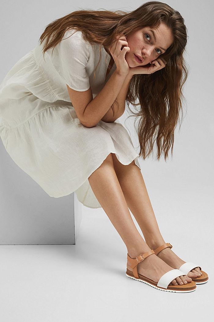 Ploché sandály s řemínkem z imitace kůže, WHITE, detail image number 5