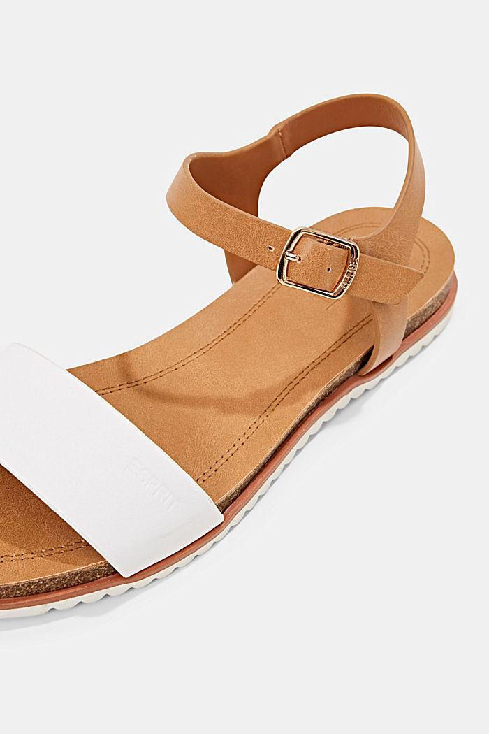 Ploché sandály s řemínkem z imitace kůže, WHITE, detail image number 4