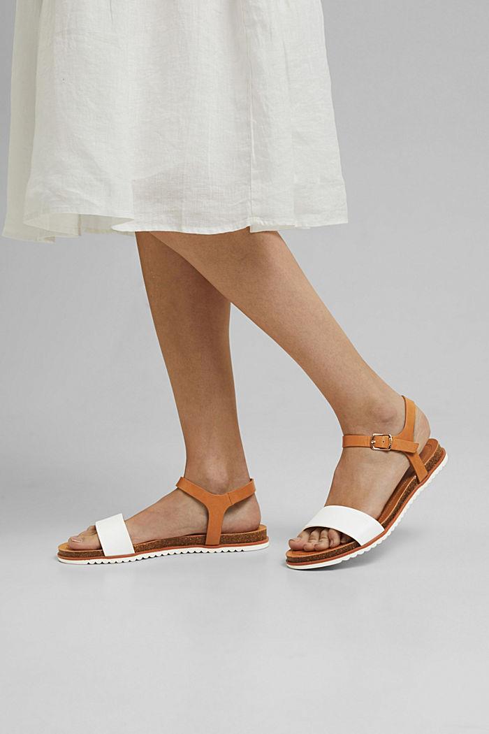 Ploché sandály s řemínkem z imitace kůže, WHITE, detail image number 3
