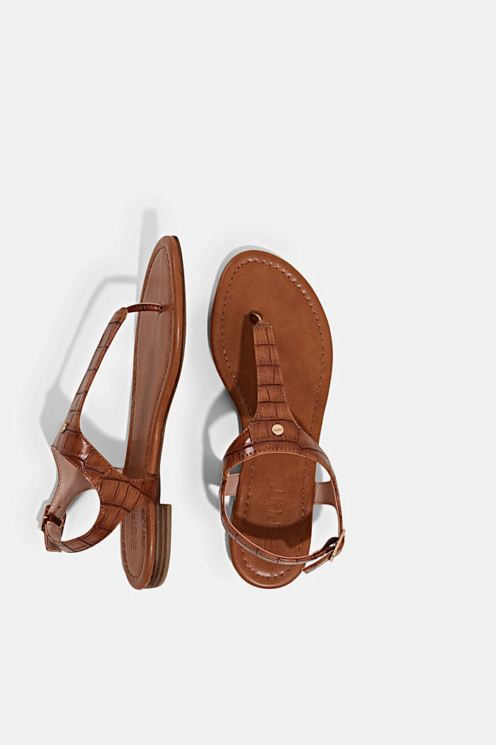 Thong sandals in faux reptile leather, CARAMEL, detail image number 1