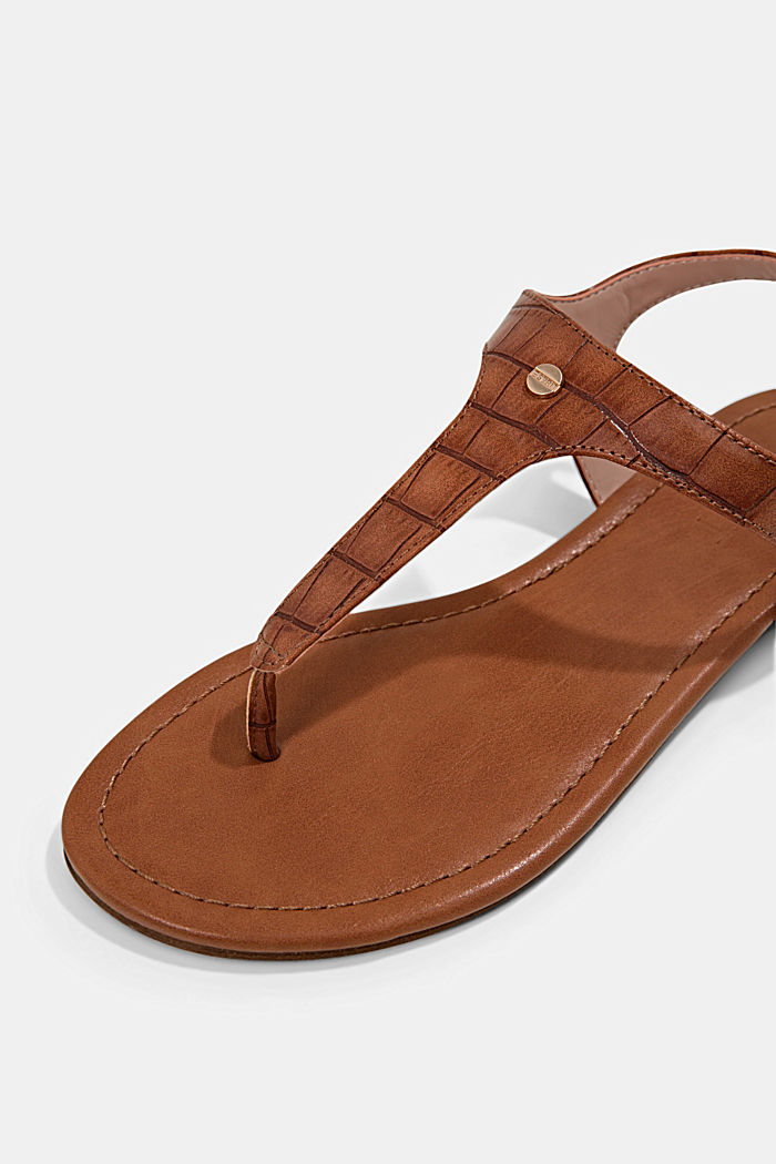Thong sandals in faux reptile leather, CARAMEL, detail image number 4