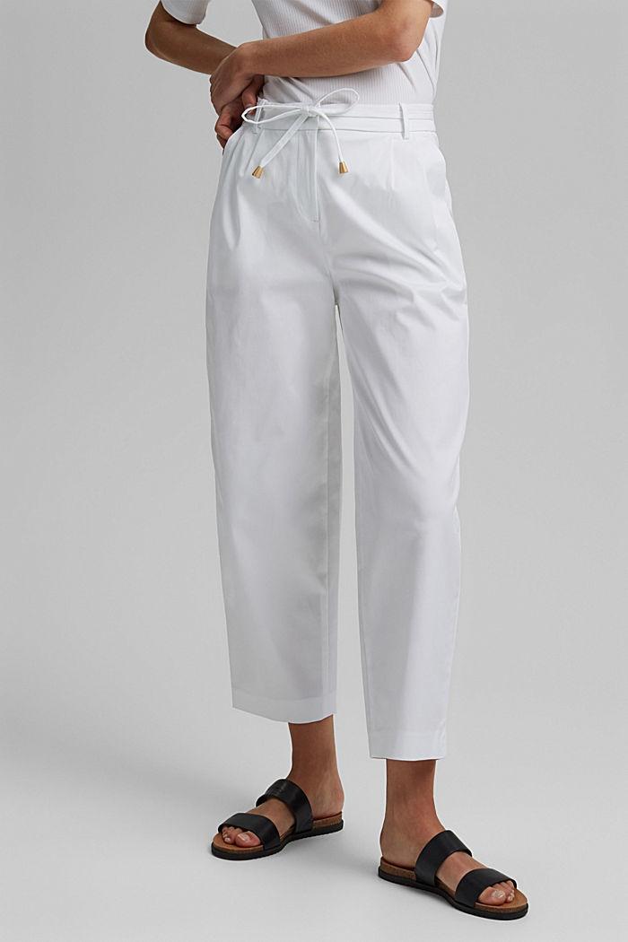 Pantalón elástico cropped con cinturón, WHITE, detail image number 0