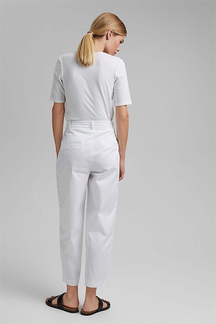 Pantalón elástico cropped con cinturón, WHITE, detail image number 3