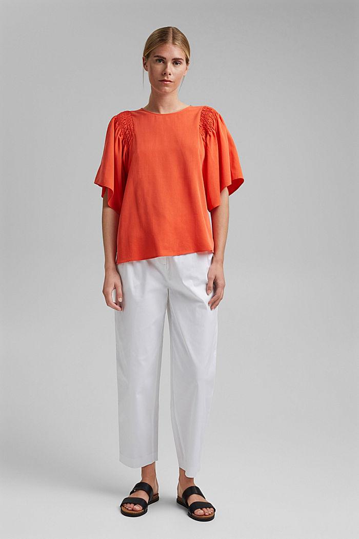 Pantalón elástico cropped con cinturón, WHITE, detail image number 6