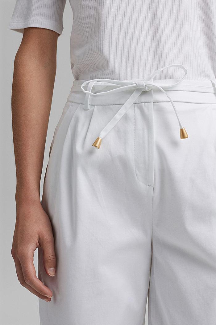 Pantalón elástico cropped con cinturón, WHITE, detail image number 2