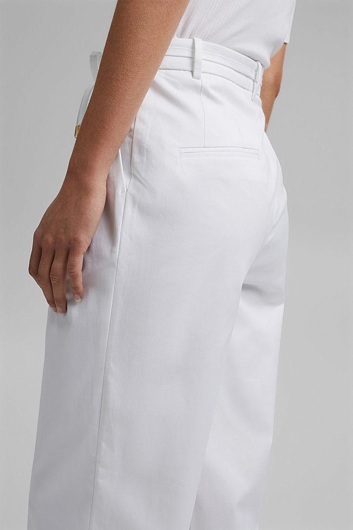 Pantalón elástico cropped con cinturón, WHITE, detail image number 5