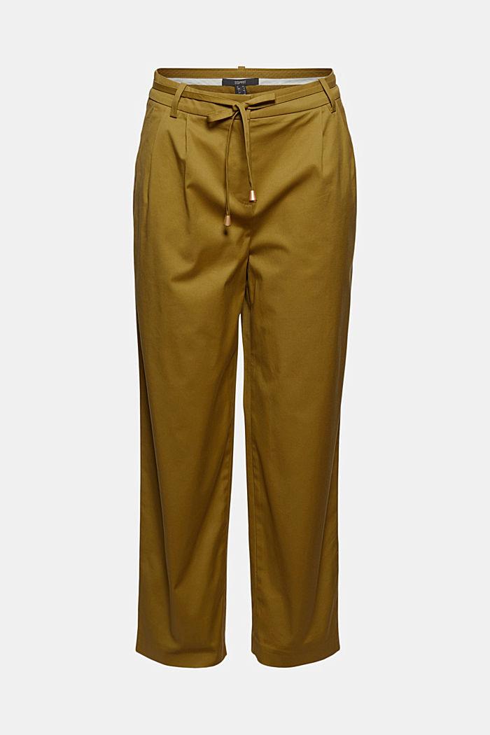 Cropped Stretch-Hose mit Bindegürtel