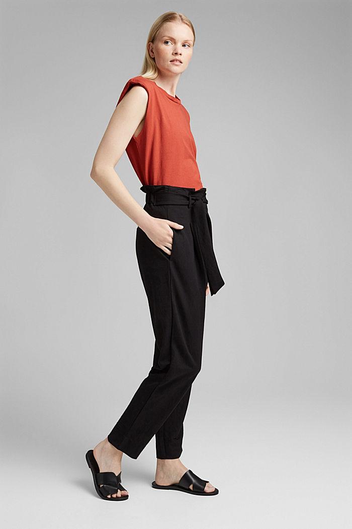 Kalhoty piké, z materiálu LENZING™ ECOVERO™, BLACK, detail image number 1